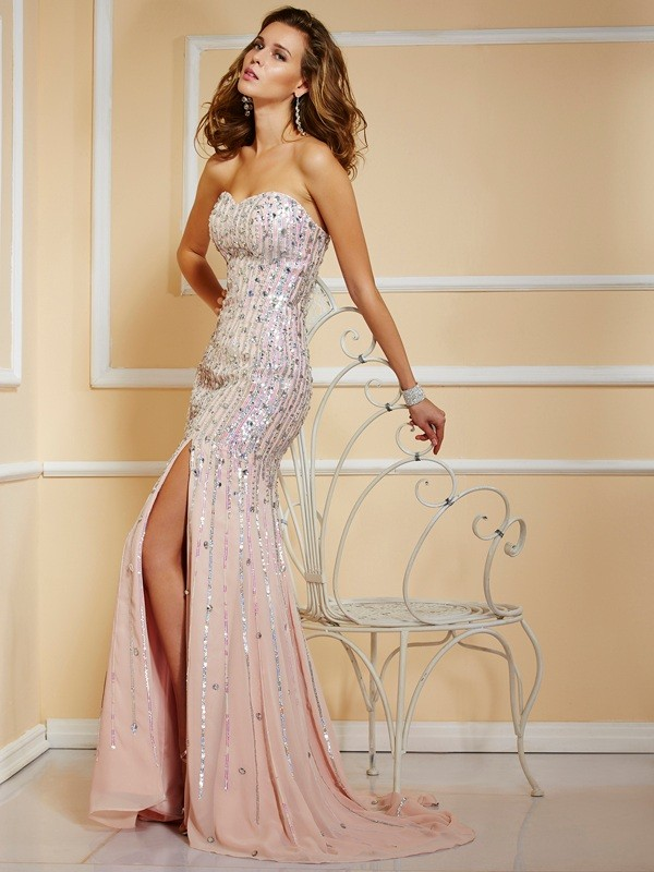 A-Line/Princess Beading Strapless Sleeveless Long Chiffon Dresses