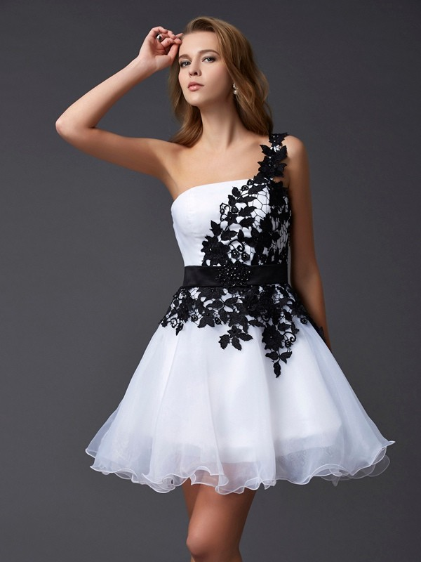 A-Line/Princess One-Shoulder Sleeveless Lace Short Organza Dresses