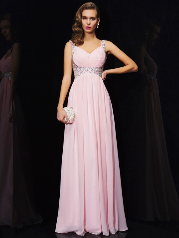A-Line/Princess Sleeveless V-neck Beading Long Chiffon Dresses