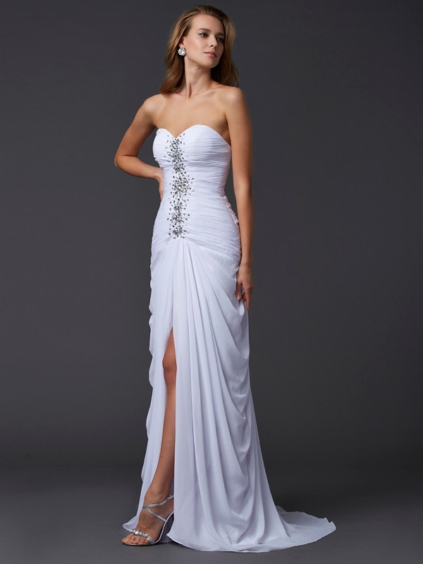 Sheath/Column Sweetheart Sleeveless Long Beading Chiffon Dresses