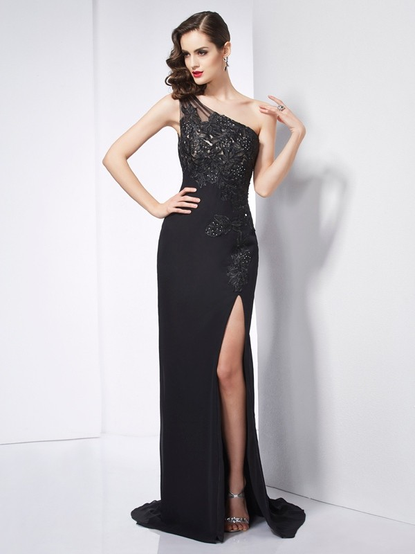 Sheath/Column One-Shoulder Sleeveless Applique Long Chiffon Dresses