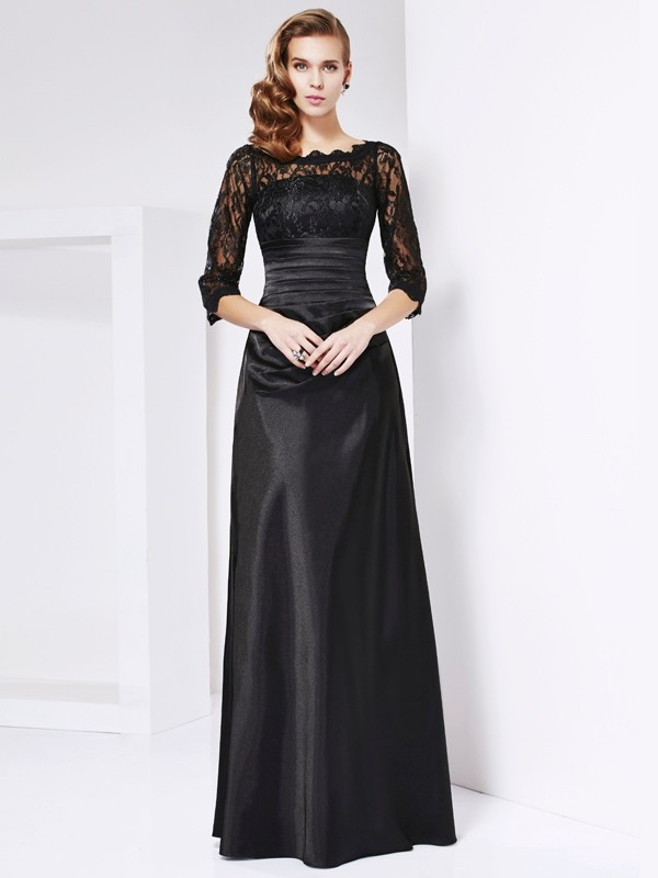 Sheath/Column Off the Shoulder 3/4 Sleeves Lace Long Elastic Woven Satin Mother of the Bride Dresses