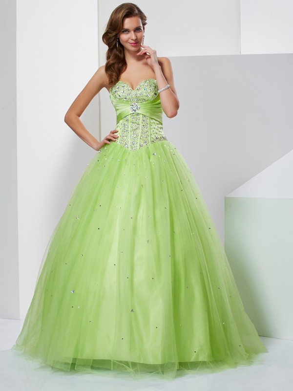 7c9ac11ebcc6 Ball Gown Sweetheart Beading Sleeveless Long Tulle Quinceanera Dresses ...
