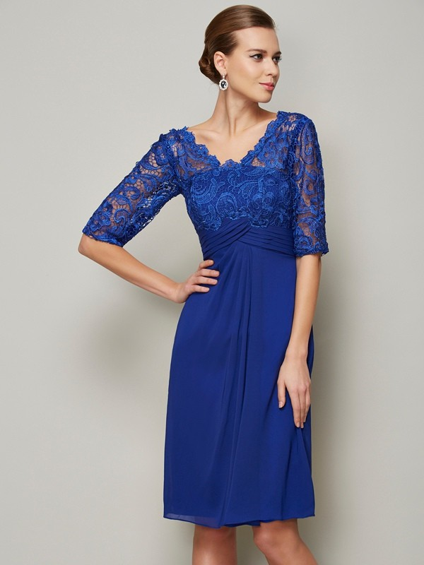 Sheath/Column V-neck 1/2 Sleeves Lace Short Chiffon Mother of the Bride Dresses