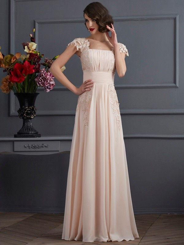 A-Line/Princess Square Short Sleeves Lace Long Chiffon Dresses