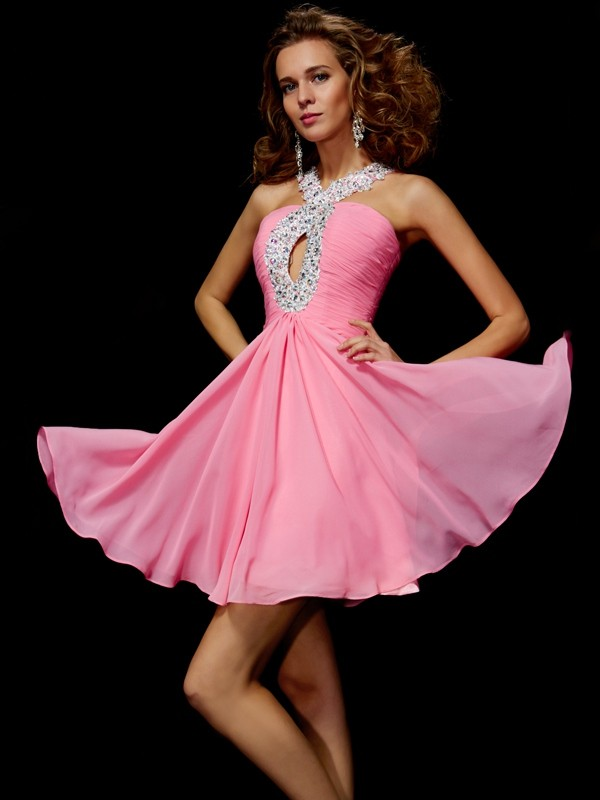 A-Line/Princess V-neck Sleeveless Beading Sequin Short Chiffon Dresses