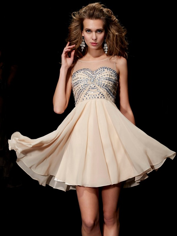 A-Line/Princess Sleeveless Scoop Beading Short Chiffon Dresses
