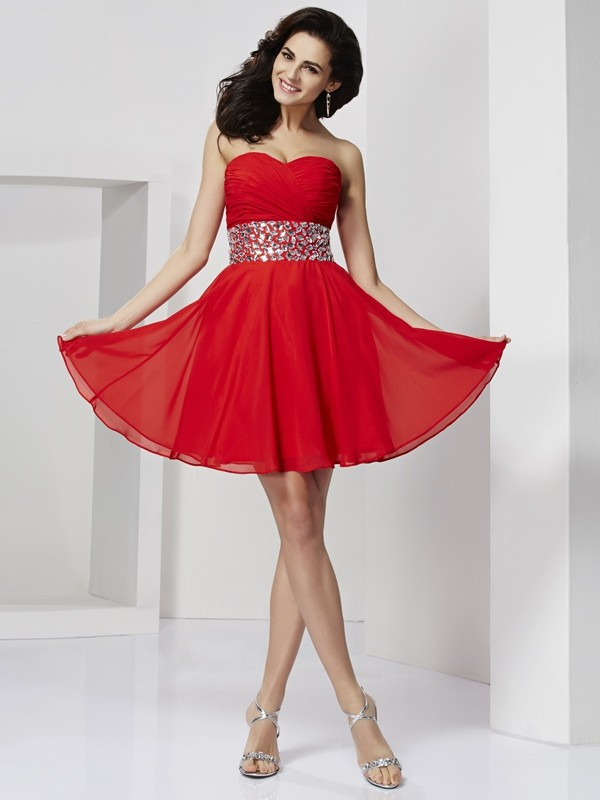 A-Line/Princess Sweetheart Sleeveless Rhinestone Short Chiffon Dresses