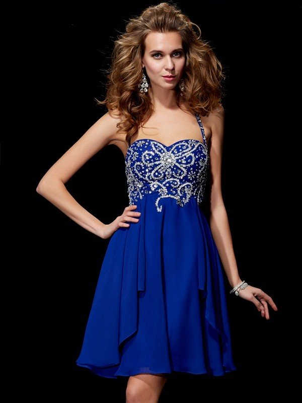 A-Line/Princess Halter Sleeveless Beading Short Chiffon Dresses