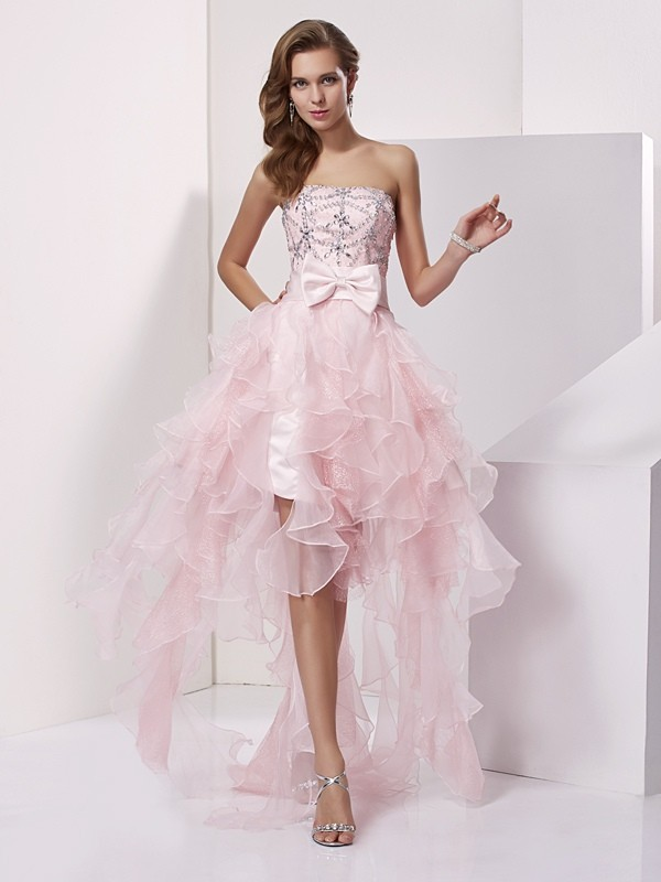 A-Line/Princess Strapless Sleeveless Beading High Low Organza Dresses