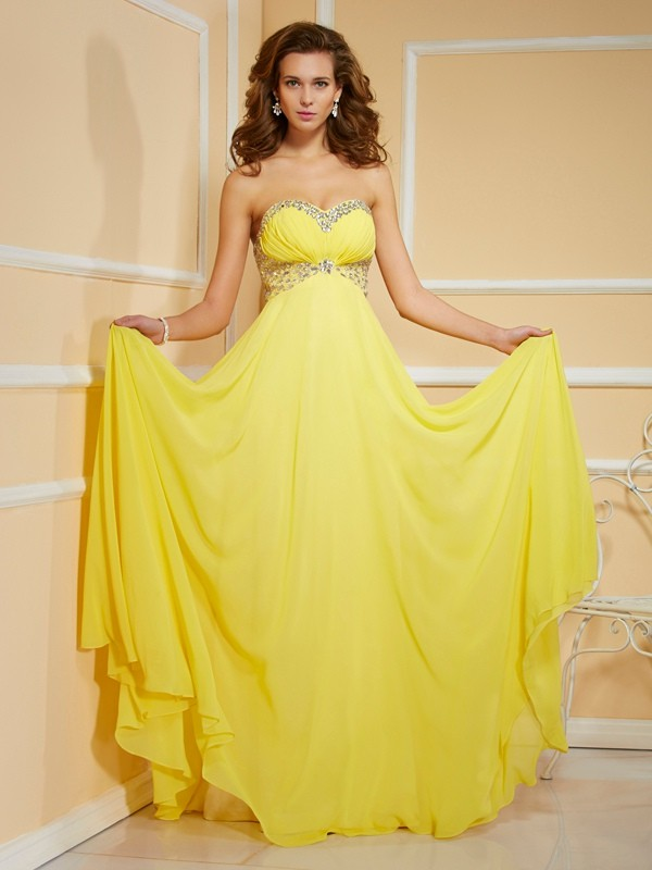 Sheath/Column Sweetheart Sleeveless Ruffles Ruched Long Chiffon Dresses