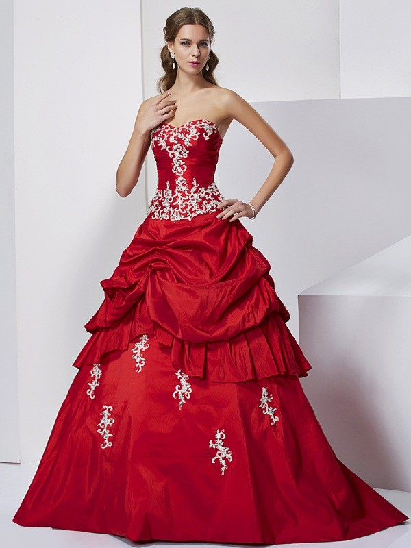 Ball Gown Sweetheart Sleeveless Beading Applique Long Taffeta Quinceanera Dresses