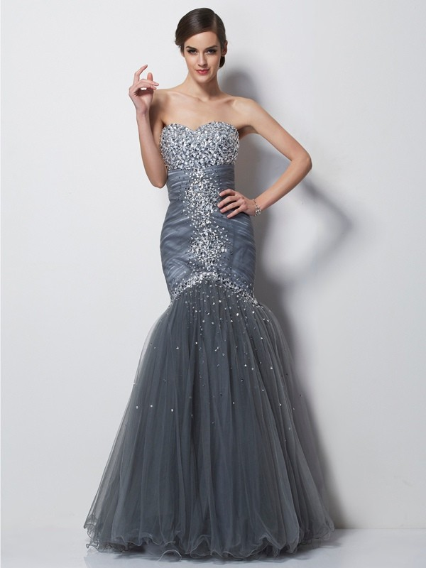 Trumpet/Mermaid Sweetheart Sleeveless Beading Long Net Dresses