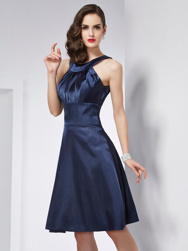 A-Line/Princess Scoop Sleeveless Pleats Short Elastic Woven Satin Bridesmaid Dresses