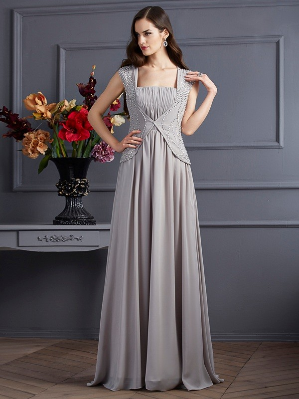 A-Line/Princess Square Sleeveless Beading Long Chiffon Dresses