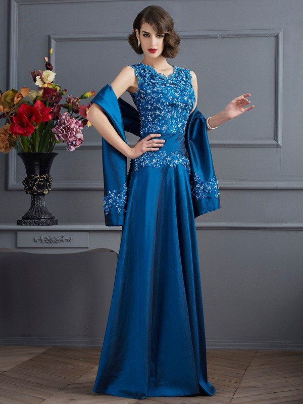 A-Line/Princess V-neck Sleeveless Beading Long Taffeta Mother of the Bride Dresses