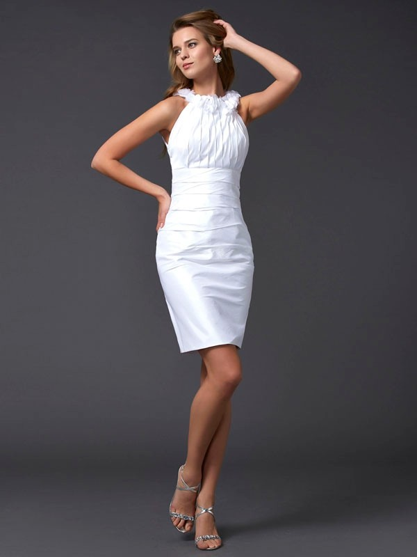 Sheath/Column High Neck Sleeveless Hand-Made Flower Short Taffeta Dresses