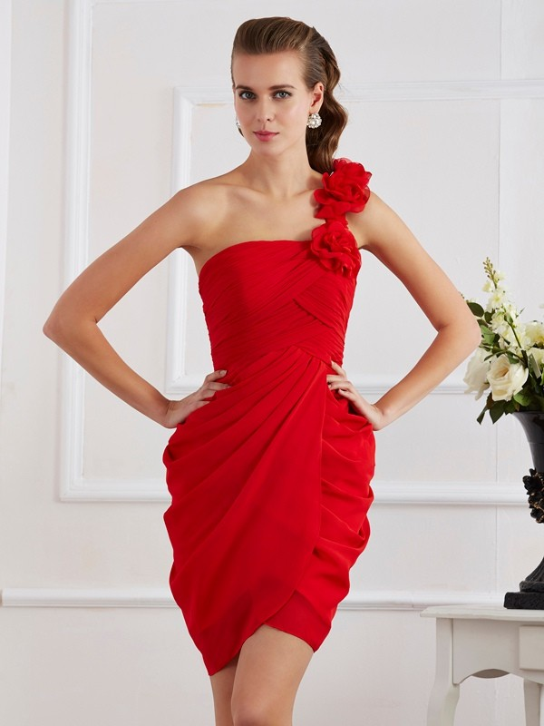 Sheath/Column One-Shoulder Sleeveless Hand-Made Flower Short Chiffon Dresses