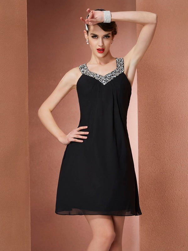 A-Line/Princess Scoop Sleeveless Beading Short Chiffon Dresses