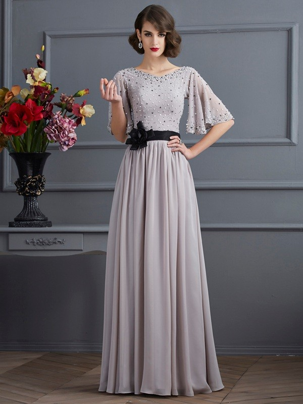 A-Line/Princess High Neck 1/2 Sleeves Beading Long Chiffon Dresses