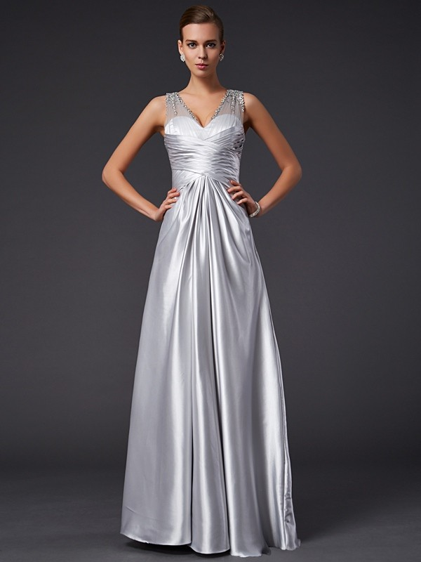 A-Line/Princess V-neck Sleeveless Beading Long Elastic Woven Satin Dresses