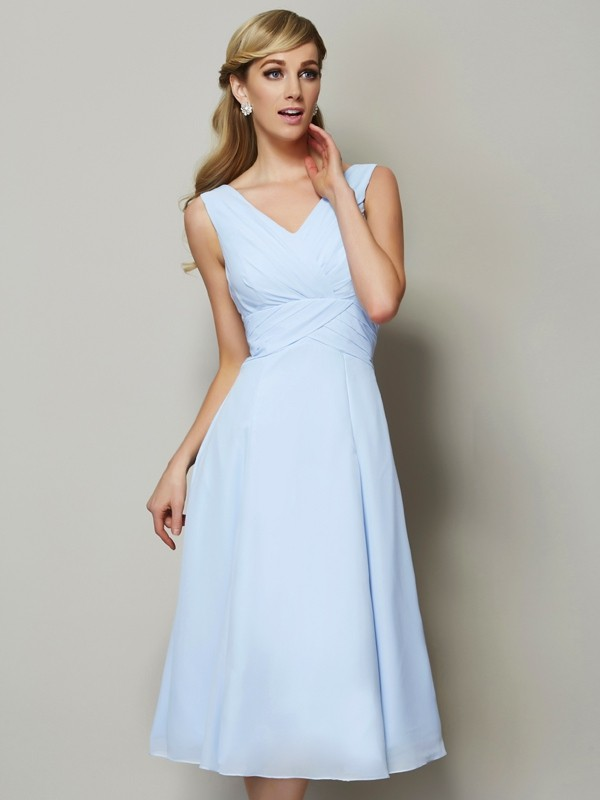 A-Line/Princess V-neck Sleeveless Pleats Short Chiffon Bridesmaid Dresses