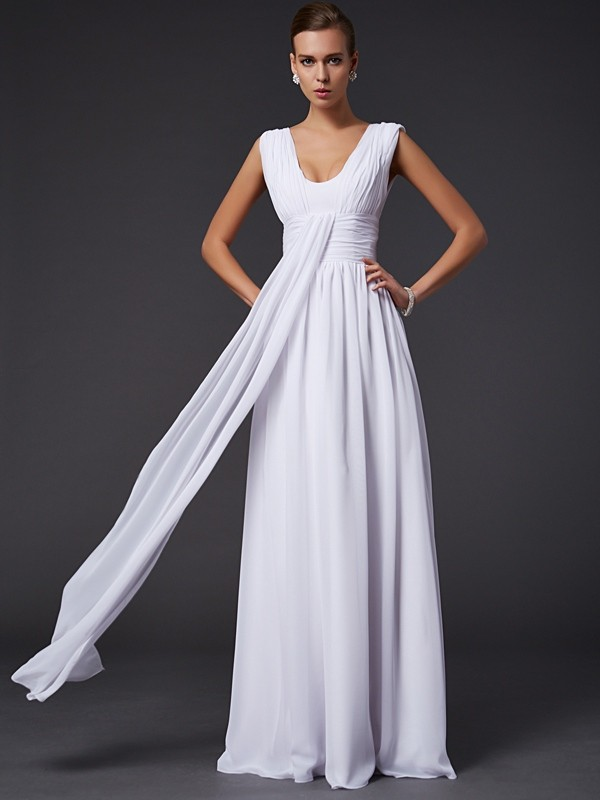 A-Line/Princess Jewel Sleeveless Pleats Long Chiffon Dresses