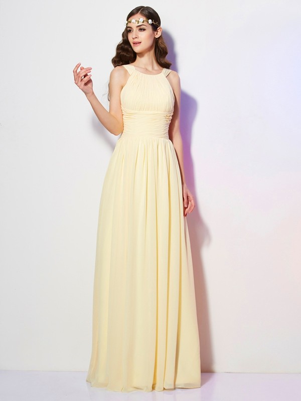 A-Line/Princess Bateau Sleeveless Pleats Long Chiffon Bridesmaid Dresses