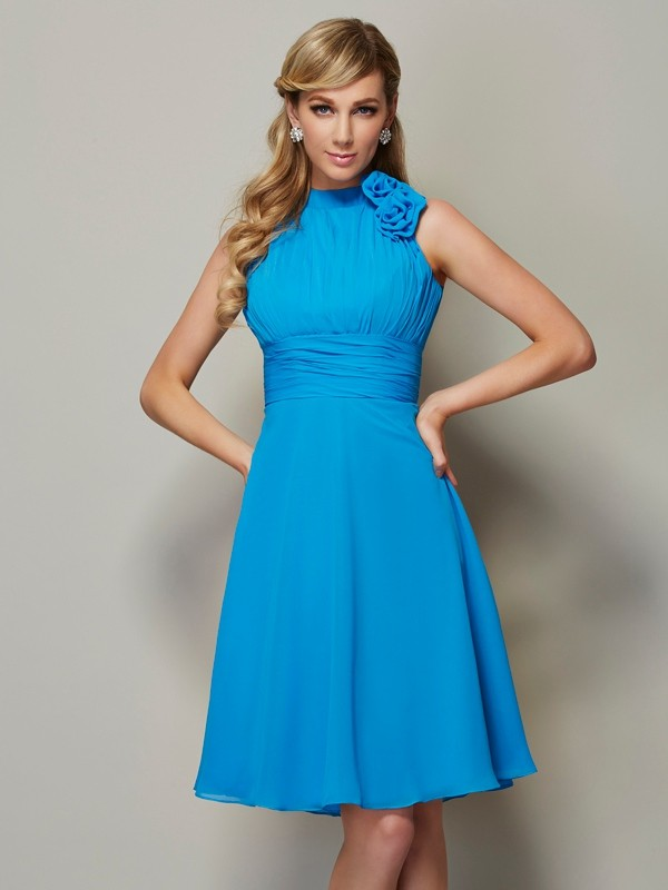 A-Line/Princess High Neck Sleeveless Pleats Short Chiffon Bridesmaid Dresses