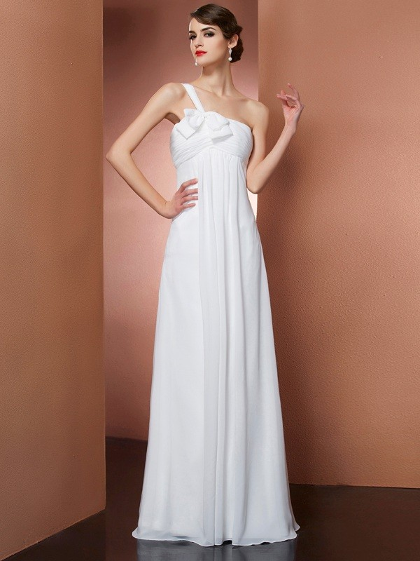 A-Line/Princess One-Shoulder Sleeveless Bowknot Long Chiffon Dresses