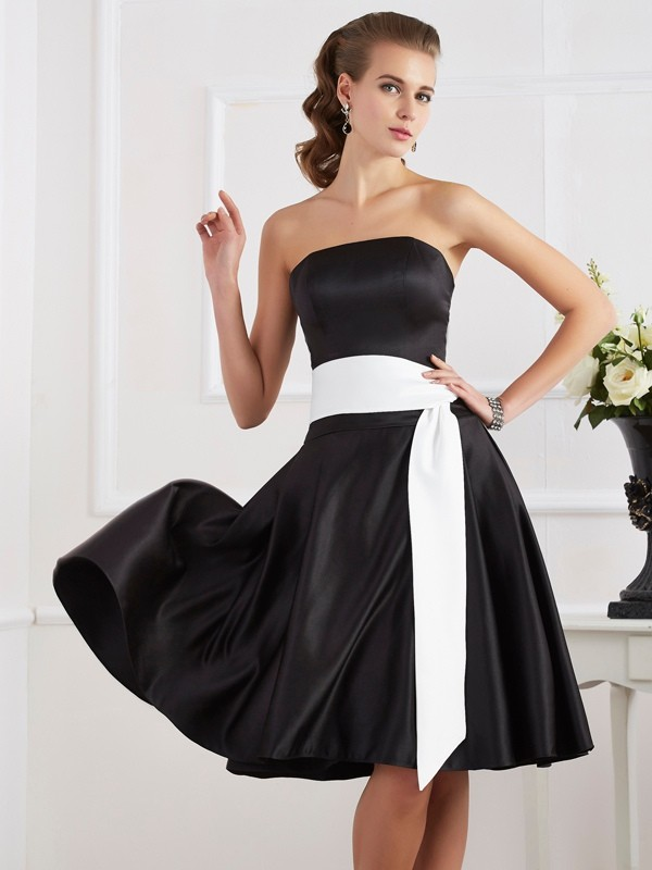 A-Line/Princess Strapless Sleeveless Sash/Ribbon/Belt Short Satin Bridesmaid Dresses