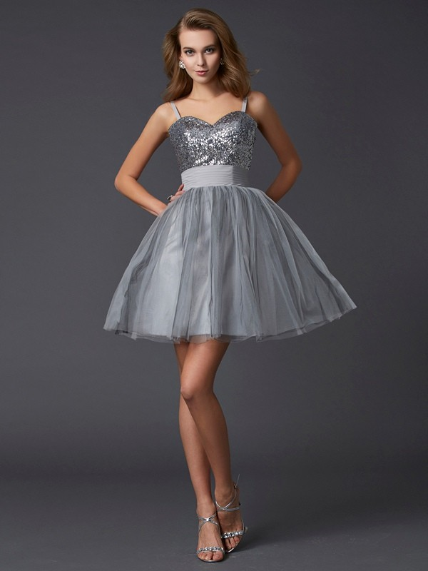 A-Line/Princess Spaghetti Straps Sleeveless Short Organza Dresses