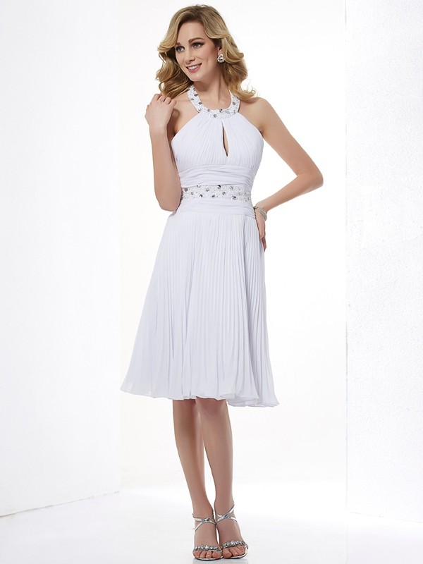 A-Line/Princess Halter Sleeveless Beading Short Chiffon Bridesmaid Dresses