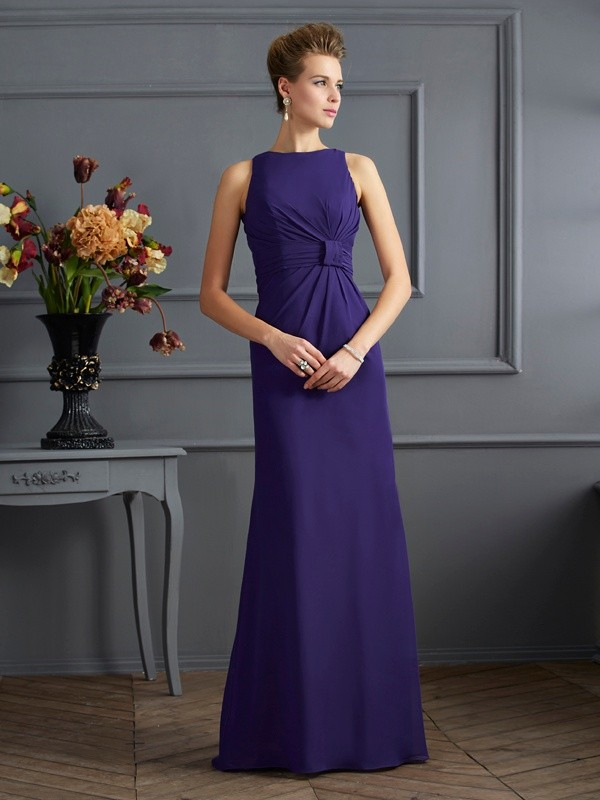 Sheath/Column Bateau Sleeveless Pleats Long Chiffon Dresses