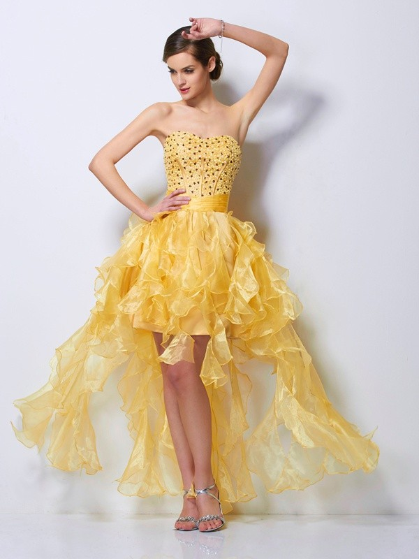 A-Line/Princess Sweetheart Sleeveless Beading High Low Tulle Dresses
