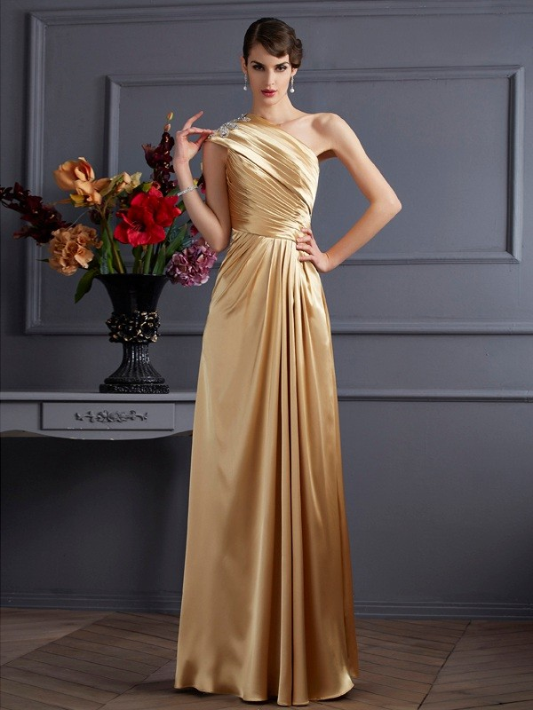 A-Line/Princess One-Shoulder Sleeveless Beading Long Elastic Woven Satin Dresses