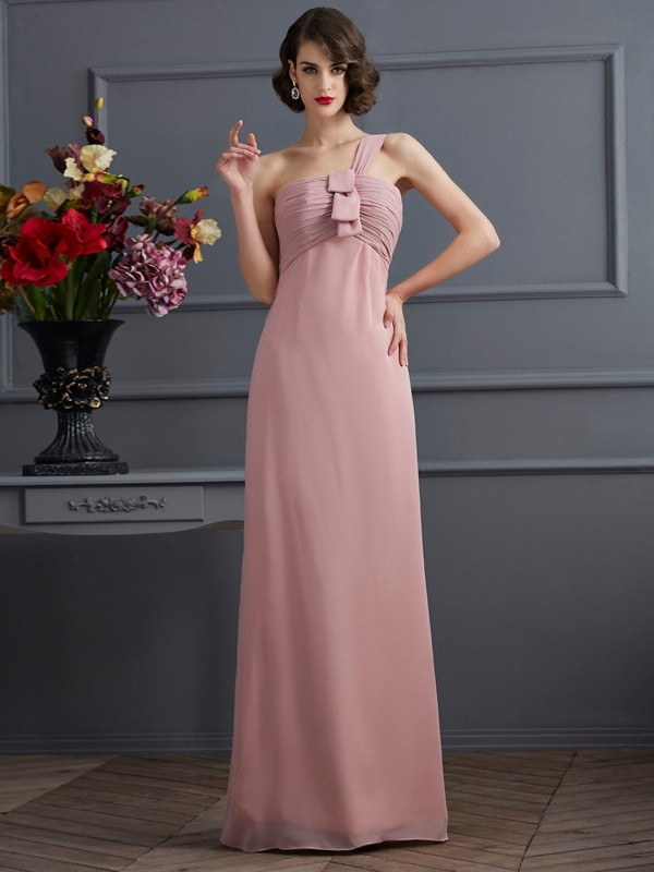 Sheath/Column One-Shoulder Sleeveless Pleats Long Chiffon Bridesmaid Dresses