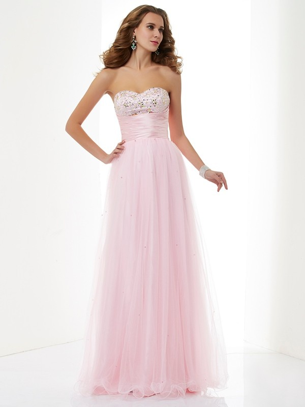 A-Line/Princess Sweetheart Sleeveless Beading Long Elastic Woven Satin Dresses