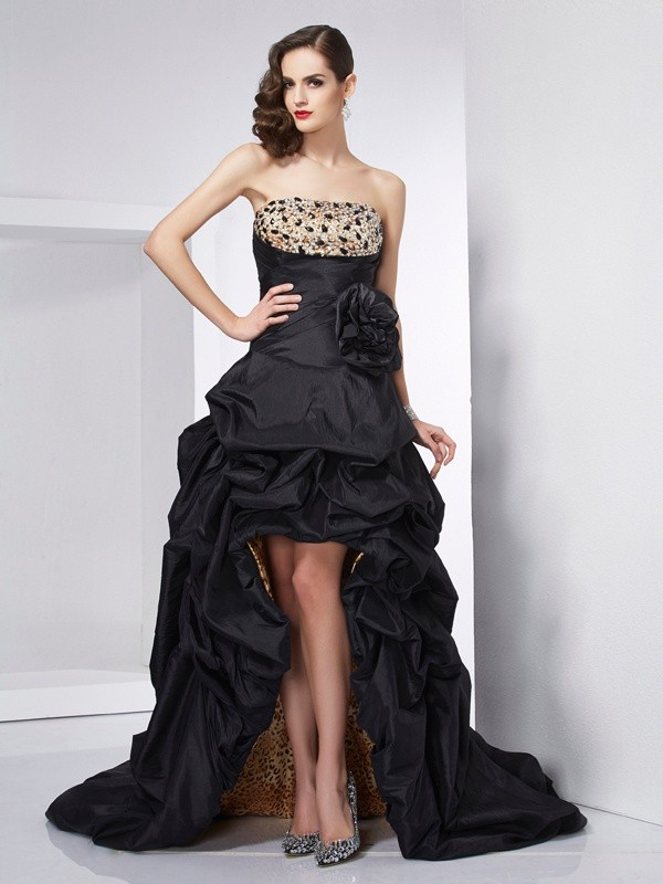 A-Line/Princess Strapless Sleeveless Beading High Low Taffeta Dresses