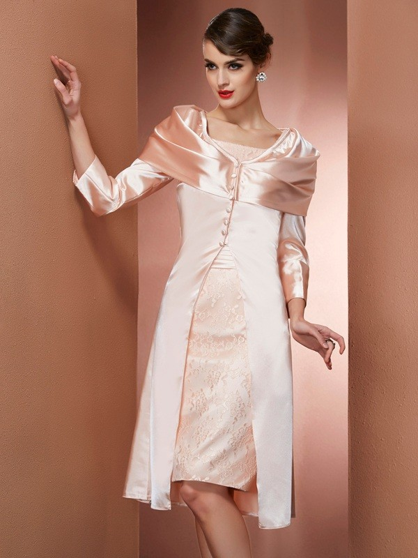 Sheath/Column Square Sleeveless Short Elastic Woven Satin Mother of the Bride Dresses