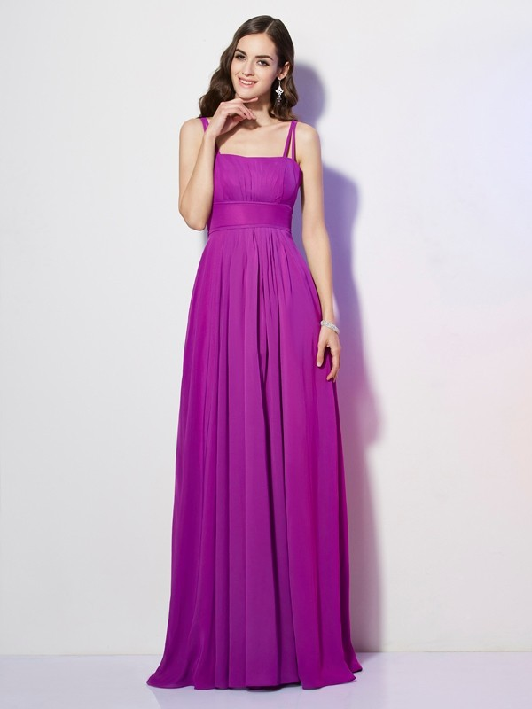 Sheath/Column Spaghetti Straps Sleeveless Pleats Long Chiffon Bridesmaid Dresses