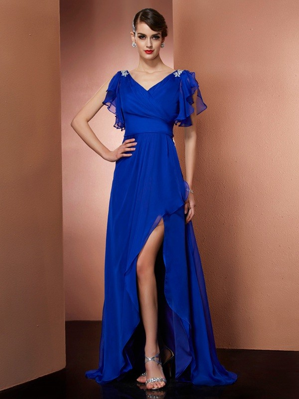A-Line/Princess V-neck Sleeveless Beading High Low Chiffon Dresses