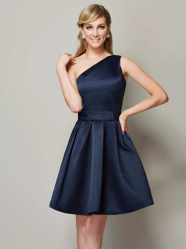 A-Line/Princess One-Shoulder Sleeveless Short Satin Bridesmaid Dresses