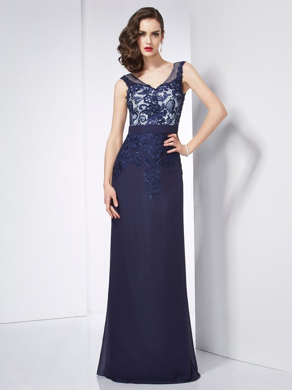 Sheath/Column V-neck Sleeveless Beading Applique Long Chiffon Dresses