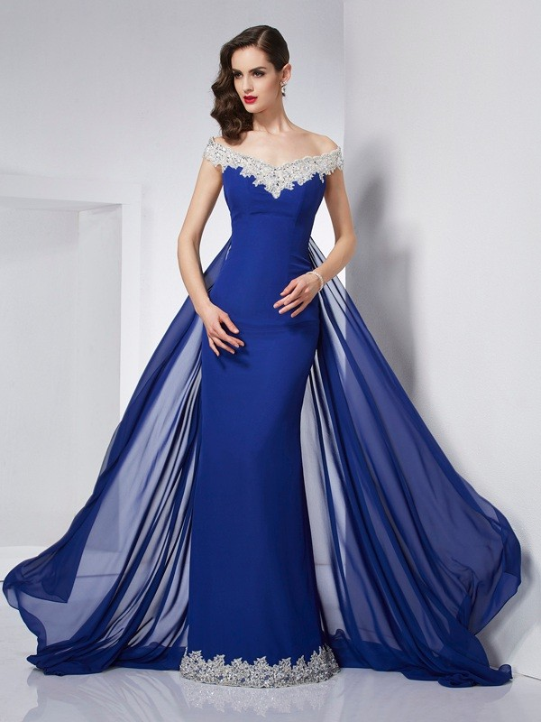 Trumpet/Mermaid Off the Shoulder Sleeveless Applique Long Chiffon Dresses