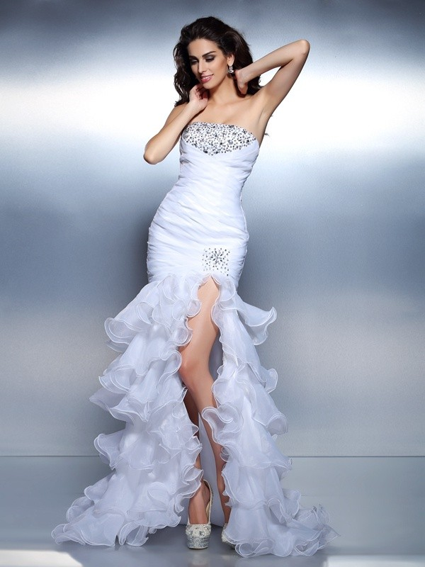 Trumpet/Mermaid Strapless Beading Ruched Sleeveless Long Organza Dresses
