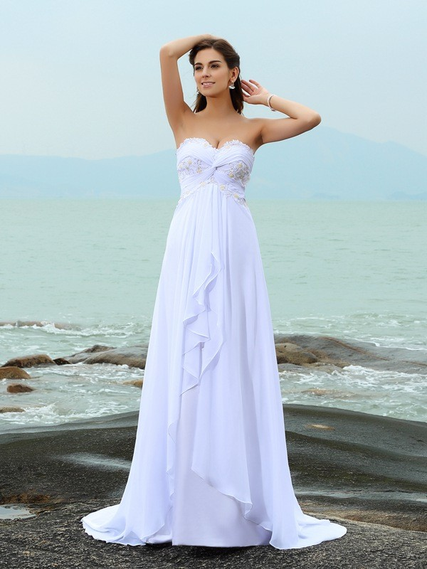 A-Line/Princess Sweetheart Beading Sleeveless Long Chiffon Beach Wedding Dresses