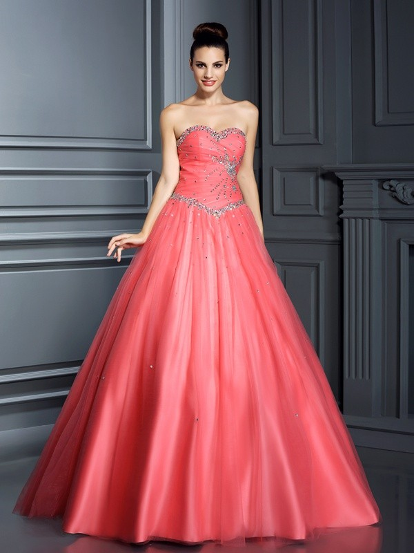 Ball Gown Sweetheart Beading Sleeveless Long Net Quinceanera Dresses