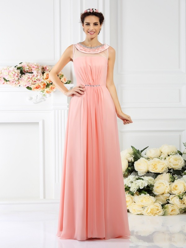 A-Line/Princess Bateau Beading Sleeveless Long Chiffon Bridesmaid Dresses