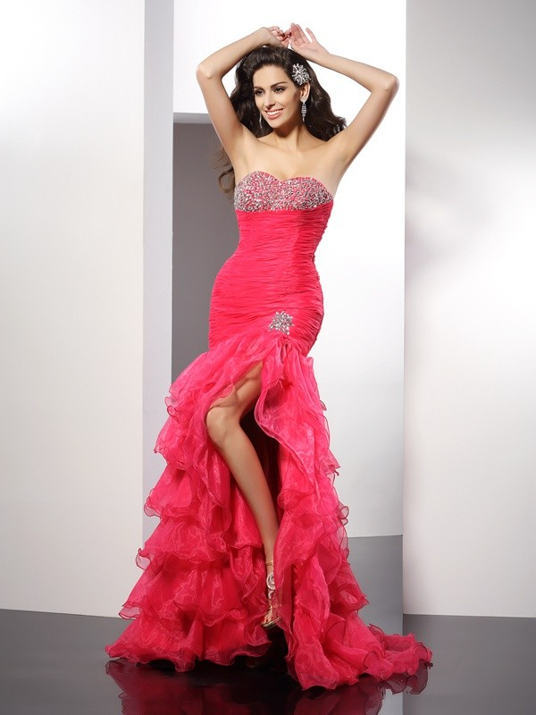 Sheath/Column Sweetheart Beading Sleeveless Long Organza Dresses